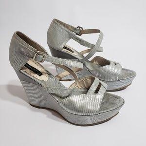 Claudia Ciuti Heels Silver Size 10 Strappy Wedges